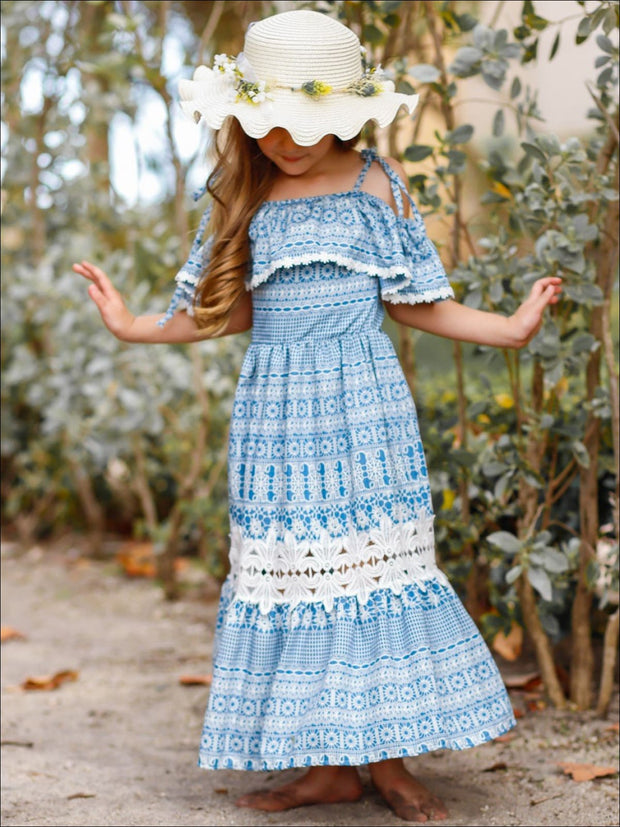 Girls Boho Off the Shoulder Strap Ruffled Lace Insert Maxi Dress - Girls Spring Casual Dress