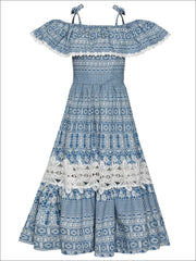 Girls Boho Off the Shoulder Strap Ruffled Lace Insert Maxi Dress - Blue / 2T/3T - Girls Spring Casual Dress