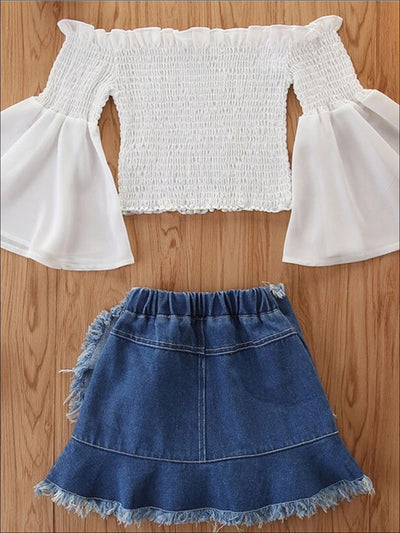 Girls Boho Ruched Flare Sleeve Top and Denim Skirt Set - Girls Spring Casual Set