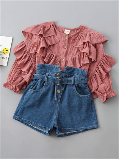 Girls Boho Ruffled Blouse and Denim Shorts Set - Girls Spring Casual Set