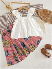 Girls Boho Ruffled Blouse And Pineapple Striped Skirt - Girls Spring Casual Set