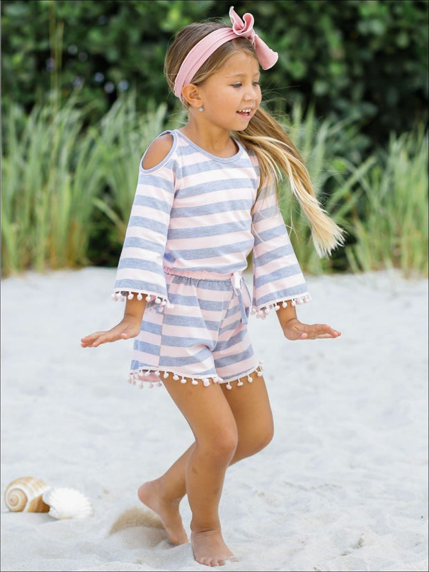Girls Boho Sleeve Cold Shoulder Pom Pom Trim Elastic Waist Jumper - Girls Jumpsuit