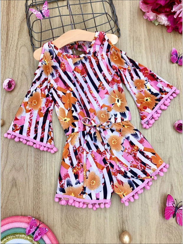 Girls Boho Sleeve Cold Shoulder Pom Pom Trim Elastic Waist Jumper - Orange / 2T/3T - Girls Jumpsuit