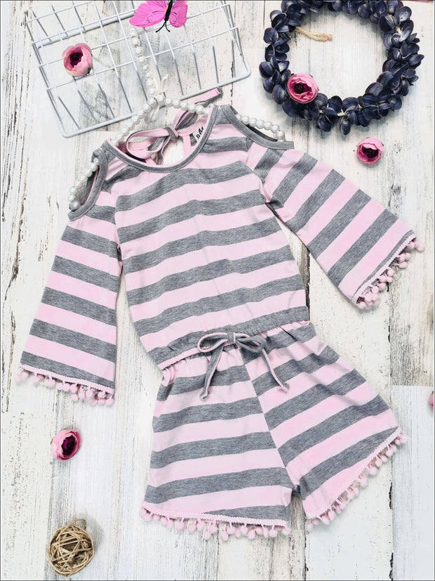 Girls Boho Sleeve Cold Shoulder Pom Pom Trim Elastic Waist Jumper - Pink / 2T/3T - Girls Jumpsuit