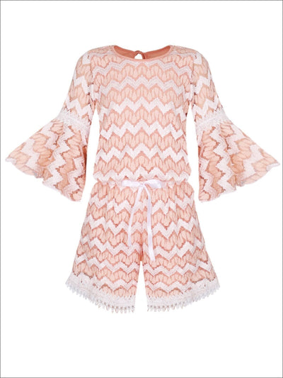 Girls Boho Sleeve Lace Jumper with Crochet Trim - Girls Jumpsuit