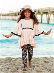 Girls Boho Sleeve Ruffled Trimmed Tunic & Printed Leggings Set - Girls Fall Casual Set