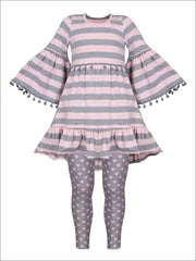 Girls Boho Sleeve Ruffled Trimmed Tunic & Printed Leggings Set - Grey / 2T/3T - Girls Fall Casual Set