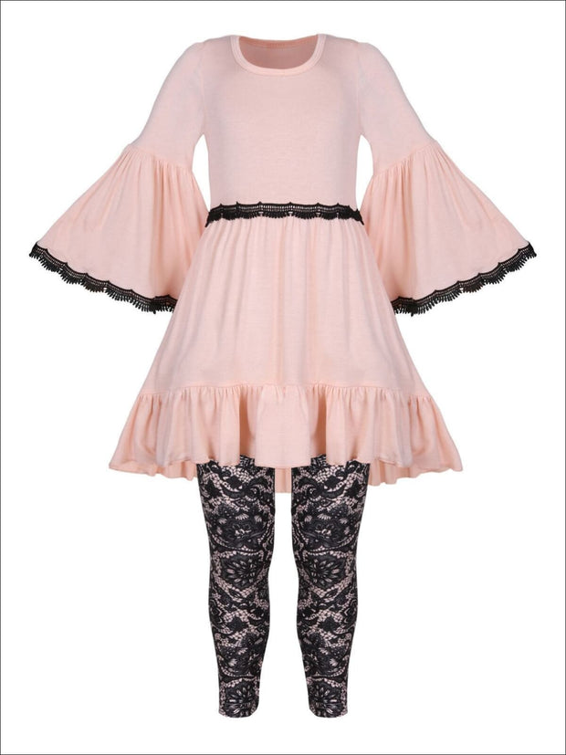 Girls Boho Sleeve Ruffled Trimmed Tunic & Printed Leggings Set - Pink / 2T/3T - Girls Fall Casual Set