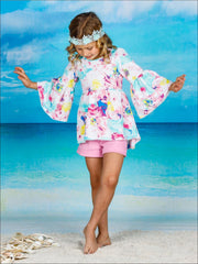 Girls Boho Sleeve Tunic & Cuffed Shorts Set - Girls Spring Casual Set