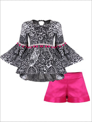 Girls Boho Sleeve Tunic & Cuffed Shorts Set - Black / 2T/3T - Girls Spring Casual Set