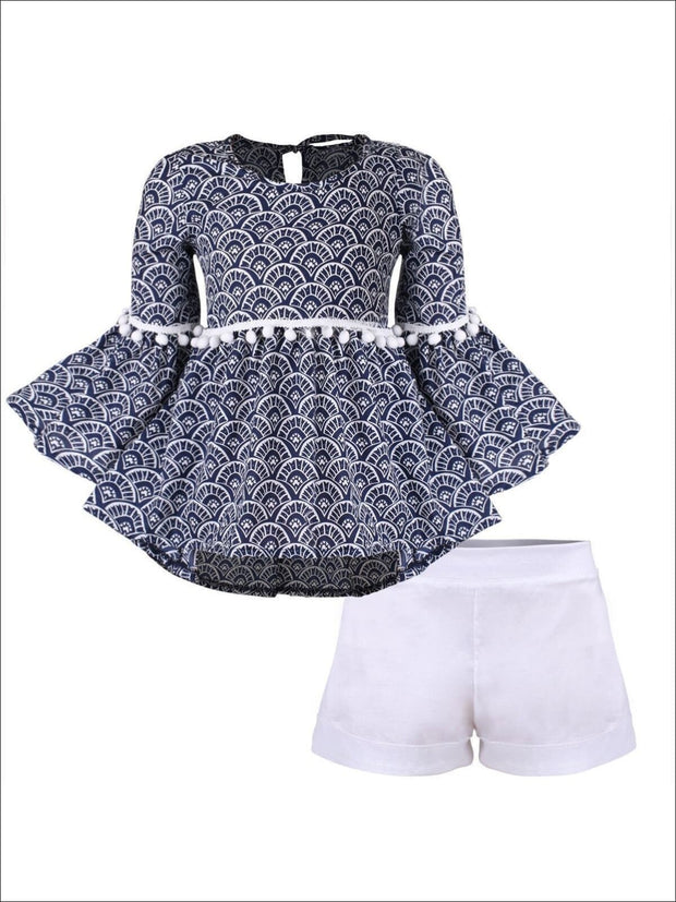 Girls Boho Sleeve Tunic & Cuffed Shorts Set - Navy / 2T/3T - Girls Spring Casual Set