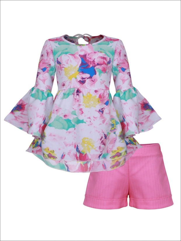 Girls Boho Sleeve Tunic & Cuffed Shorts Set - Pink / 2T/3T - Girls Spring Casual Set