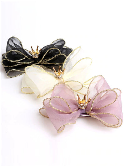 Girls Bow and Rhinestone Embellished Crown Hair Clip - Hair Accessories