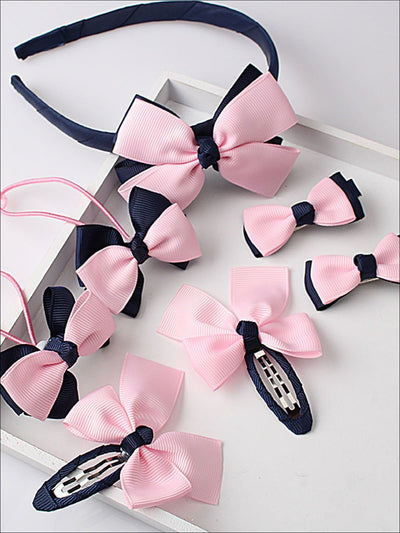 Girls Bow Embellished Hair Accessories Set - Navy - Girls Accessories