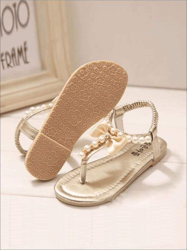 Girls Bow Pearl Trimmed Stretch Sandals - Girls Sandals
