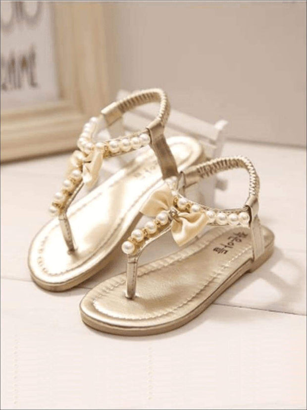 Girls Bow Pearl Trimmed Stretch Sandals - GOLD / 1 - Girls Sandals