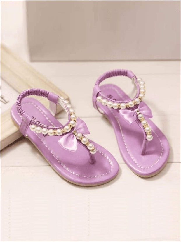 Girls Bow Pearl Trimmed Stretch Sandals - PURPLE / 1 - Girls Sandals