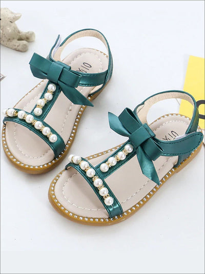 Girls Bow Strap Pearl Embellished Sandals - Green / 6 - Girls Sandals