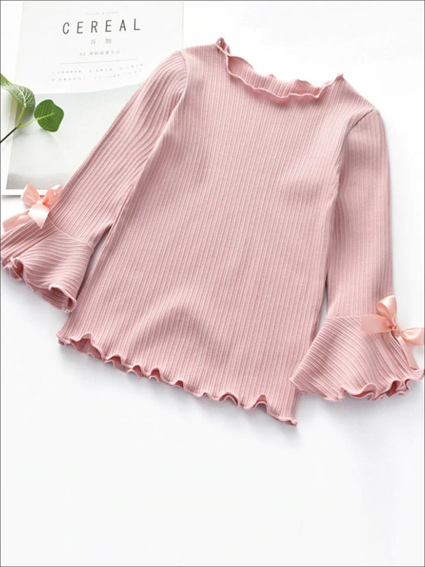 Girls Bow Tie Flare Sleeve Top - Pink / 2T - Girls Fall Top
