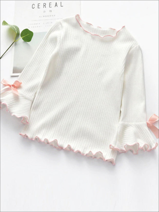 Girls Bow Tie Flare Sleeve Top - White / 2T - Girls Fall Top