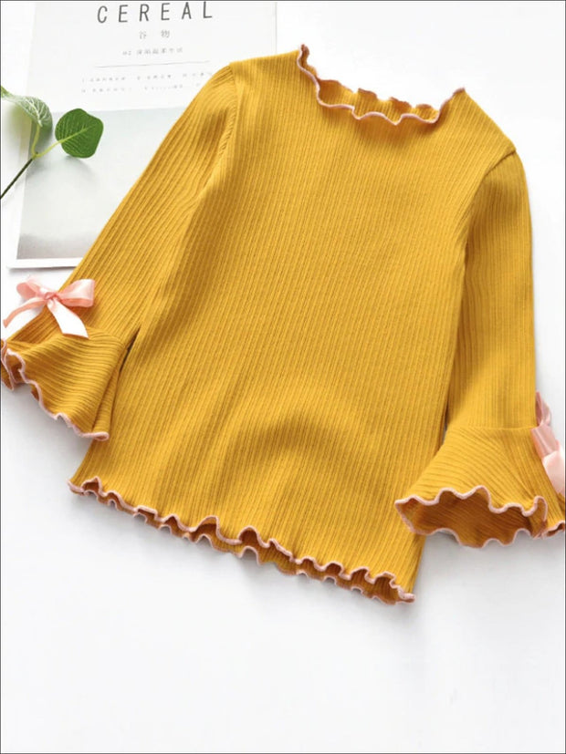 Girls Bow Tie Flare Sleeve Top - Yellow / 2T - Girls Fall Top