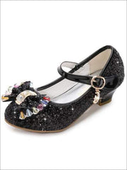 Girls Bow Tie Glitter Princess Shoes - Black / 1 - Girls Flats