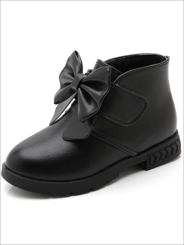 Girls Bow Velcro Strap Ankle Length Booties - Black / 1 - Girls Boots