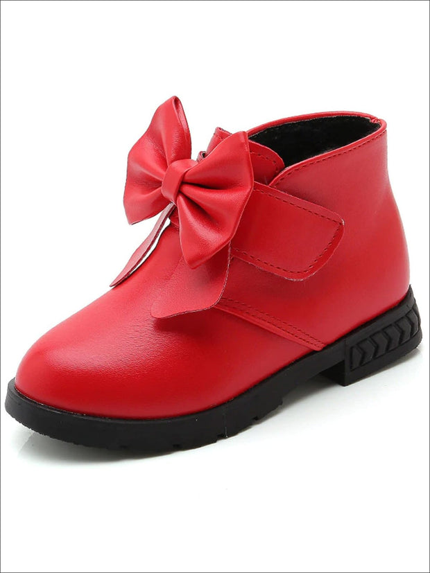 Girls Bow Velcro Strap Ankle Length Booties - Red / 1 - Girls Boots
