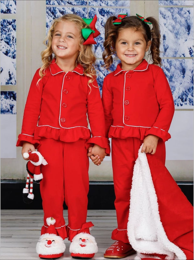 Girls & Boys Red Button Down Collared Classic Christmas Pajama Set - Girls Christmas Pajama