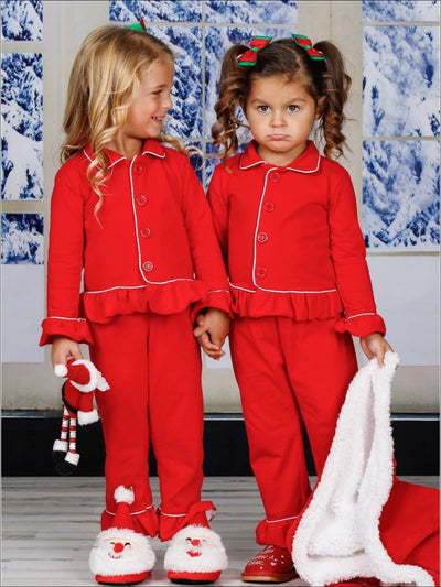 Girls & Boys Red Button Down Collared Classic Christmas Pajama Set - Red / 2T/3T Girl - Girls Christmas Pajama