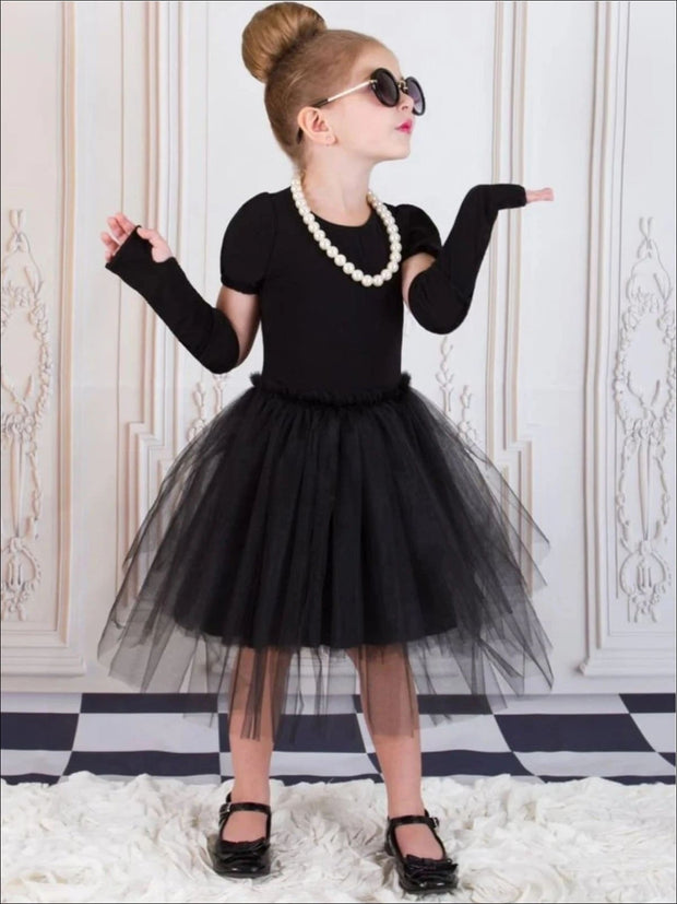 Girls Breakfast at Tiffanys - Hollywood Glam Tutu Halloween Costume - Black / 5/6 - Girls Halloween Costume