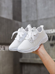 Girls Breathable Mesh Lace Up Sneakers - Girls Sneakers