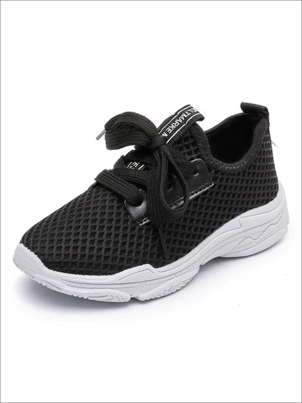 Girls Breathable Mesh Lace Up Sneakers - Black / 1.5 - Girls Sneakers