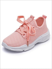 Girls Breathable Mesh Lace Up Sneakers - Pink / 1.5 - Girls Sneakers