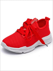 Girls Breathable Mesh Lace Up Sneakers - Red / 1.5 - Girls Sneakers
