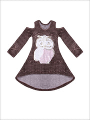 Girls Brown Hi-Lo Long Sleeve Cold Shoulder Cable Knit Tunic with Sequin Owl Applique - Girls Fall Top