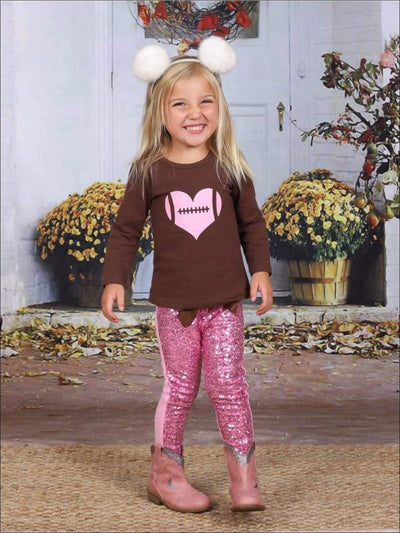 Girls Brown & Pink Long Sleeve Heart Football Top & Sequin Leggings Set - Brown / XS-2T - Girls Fall Casual Set