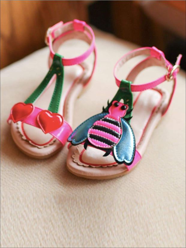 Girls Bumble Bee and Heart Cherry Sandals - Pink / 1.5 - Girls Sandals