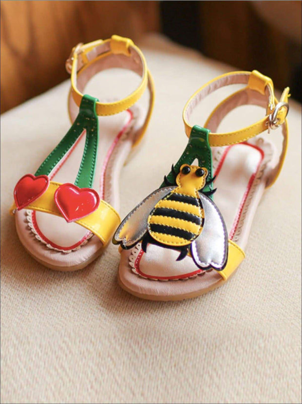 Girls Bumble Bee and Heart Cherry Sandals - Yellow / 1.5 - Girls Sandals