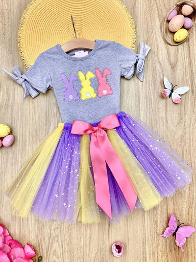 Girls Bunnies Applique Tie Sleeve and Sequin Bow Tutu Skirt Set - Grey / 2T - Girls Easter Set