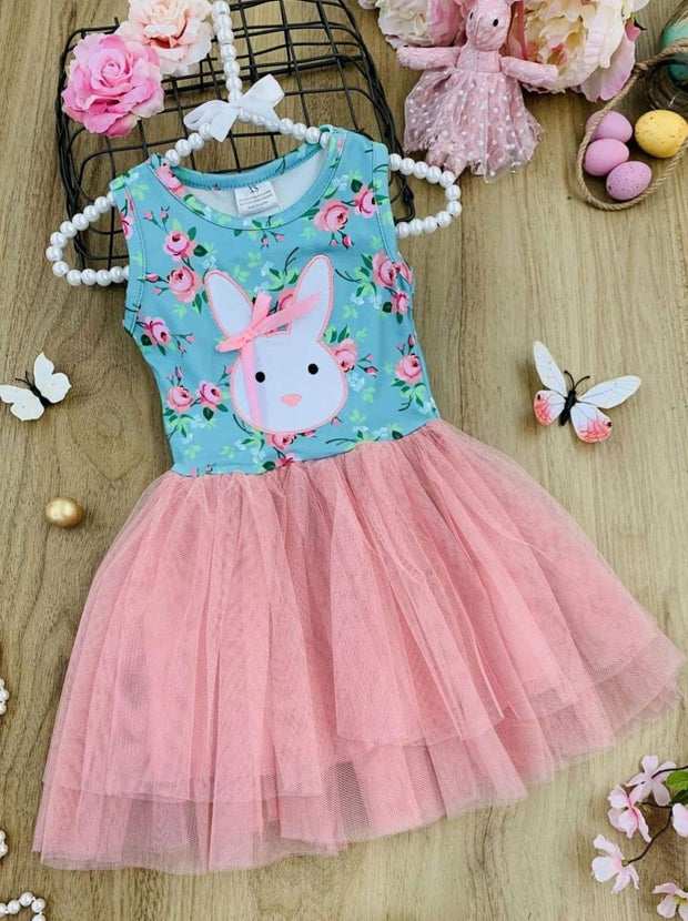 Girls Bunny Applique Floral Tutu Dress - Dusty Pink / 2T - Girls Spring Casual Dress