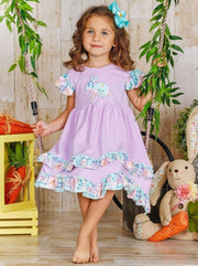 Girls Easter Themed Flutter Sleeve 2-Tier Ruffled Dress - Girls Easter Dress