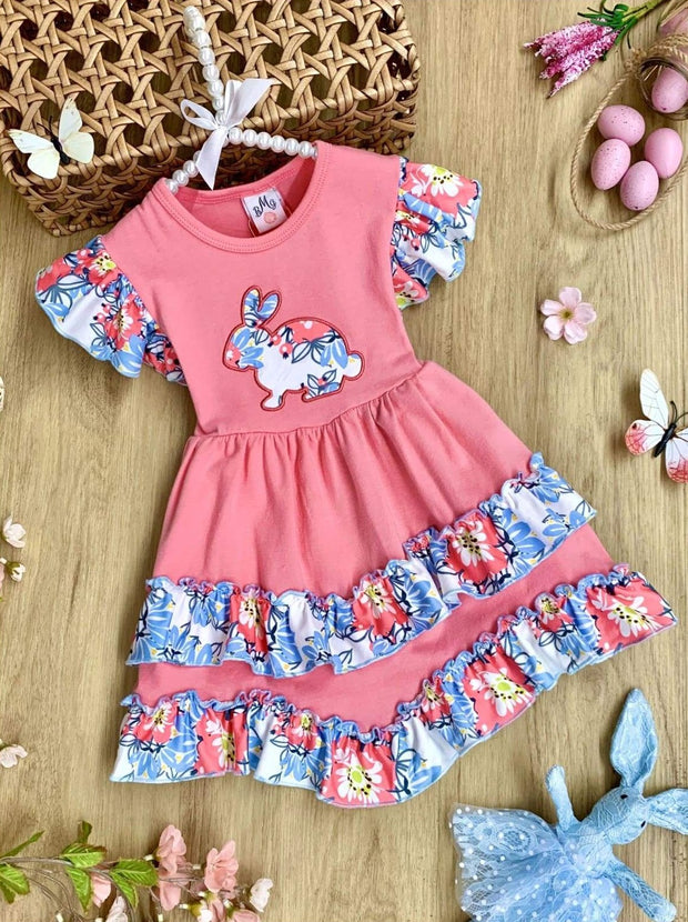 Girls Bunny Applique Flutter Sleeve 2-Tier Ruffled Dress - Pink / 3T - Girls Easter Dress