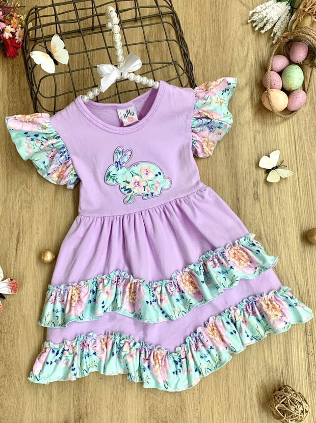 Girls Bunny Applique Flutter Sleeve 2-Tier Ruffled Dress - Purple / 3T - Girls Easter Dress