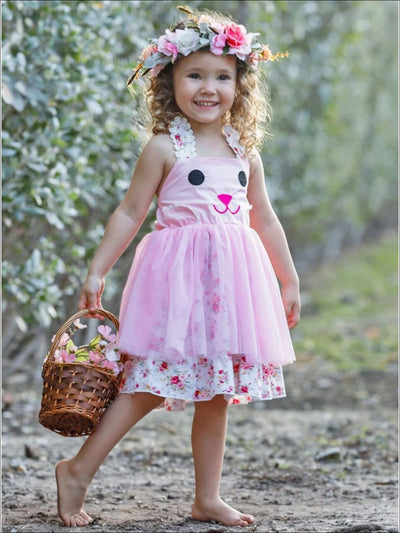 Girls Bunny Floral Tulle Tutu Dress - Girls Spring Casual Dress