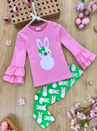 Girls Bunny Ruffle Sleeve Top and Leggings Set - Pink / 2T - Girls Easter Set