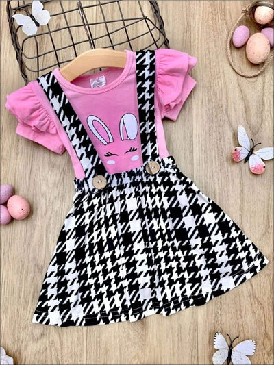 Girls Bunny Ruffled Sleeve Top and Houndstooth Overall Dress Set - Pink / 2T - Girls Easter Set