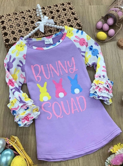 Girls Bunny Squad Bunny Print Ruffled Top - Purple / 2T - Girls Spring Top