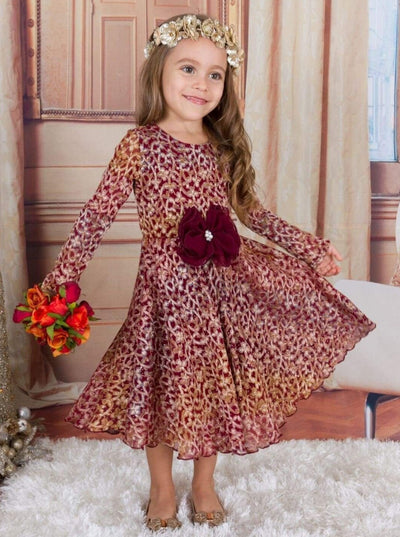 Girls Burgundy Antique Lace dress w/ Bow - Girls Fall Dress