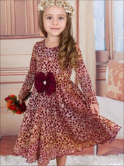 Girls Burgundy Antique Lace dress w/ Bow - Burgundy / 3T - Girls Fall Casual Dress